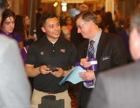 UNI student meeting with state representative